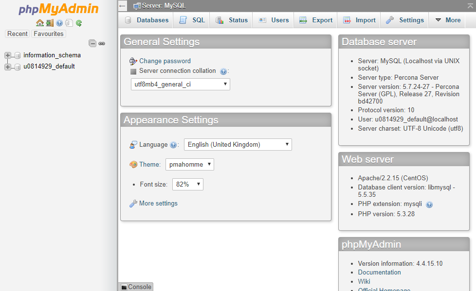phpMyAdmin interface after authorization