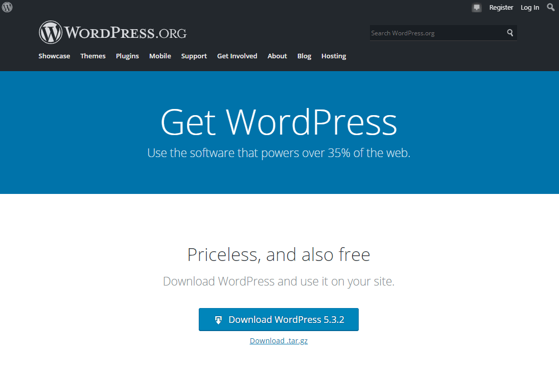 Download form at wordpress.org. This is always the most current version