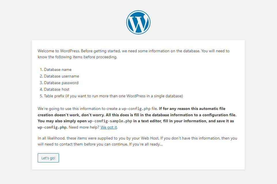 Starting the WordPress installation