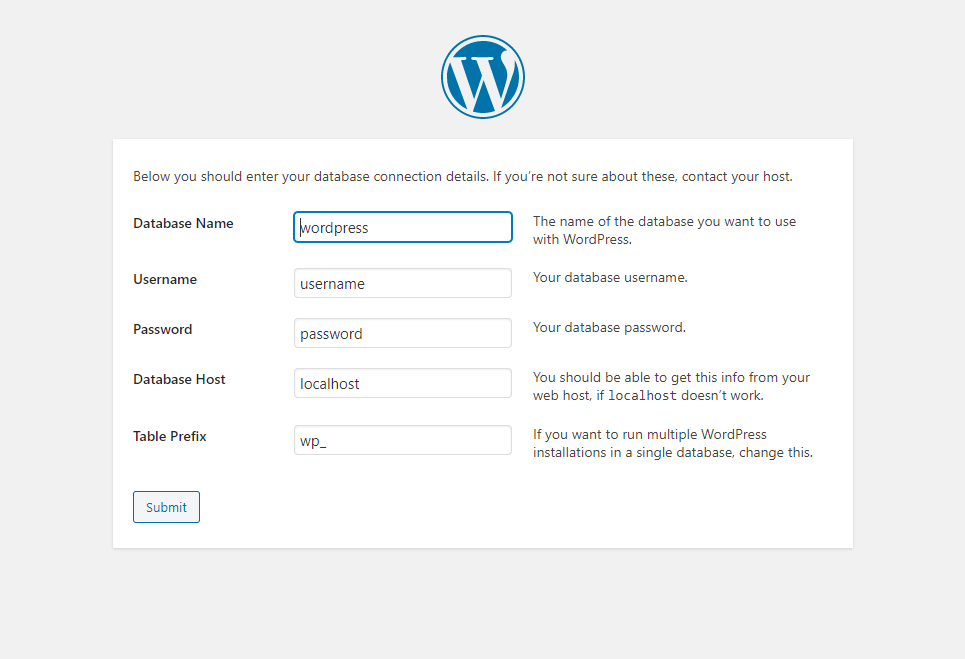 WordPress installation window
