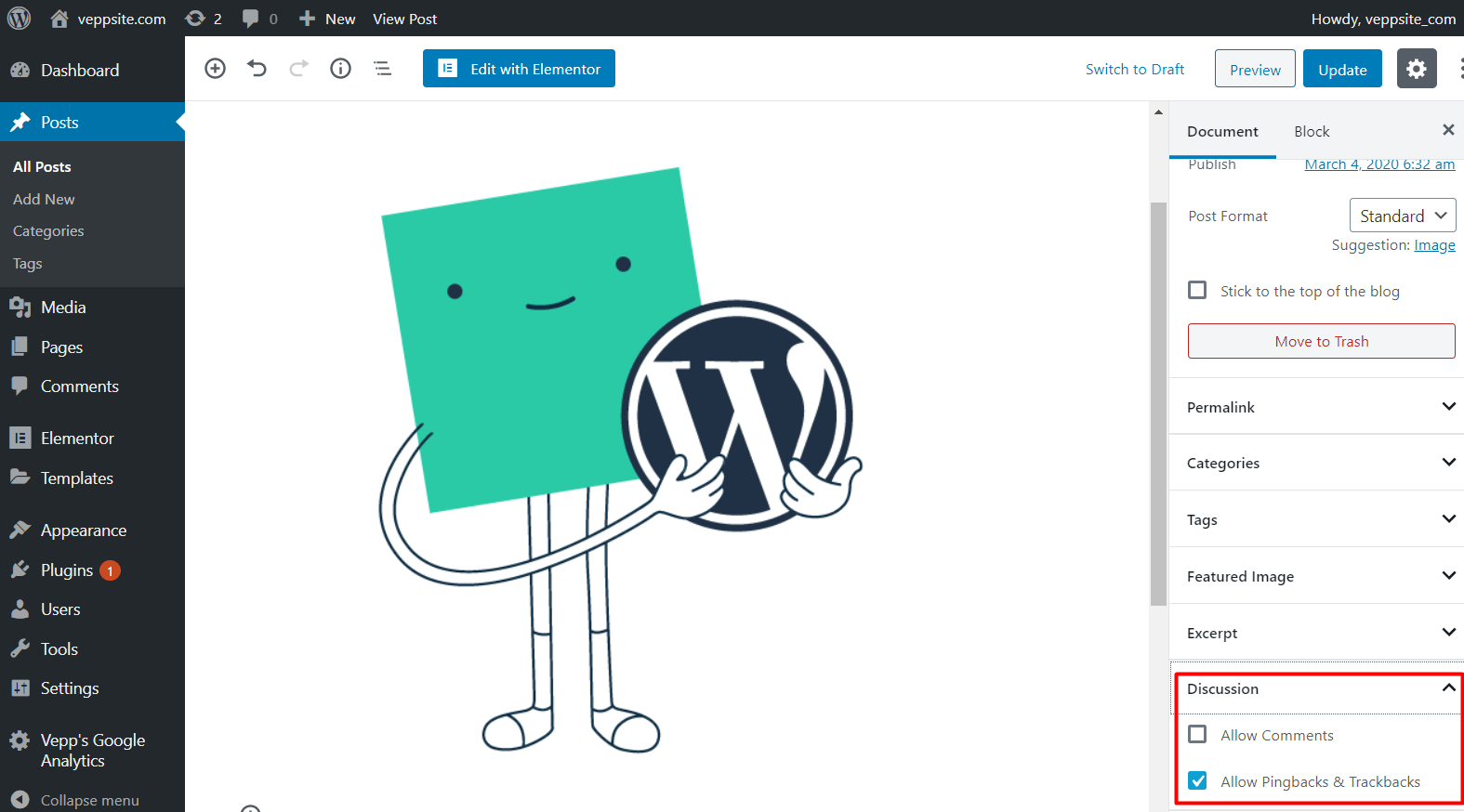 Discussion, how to disable WordPress comments