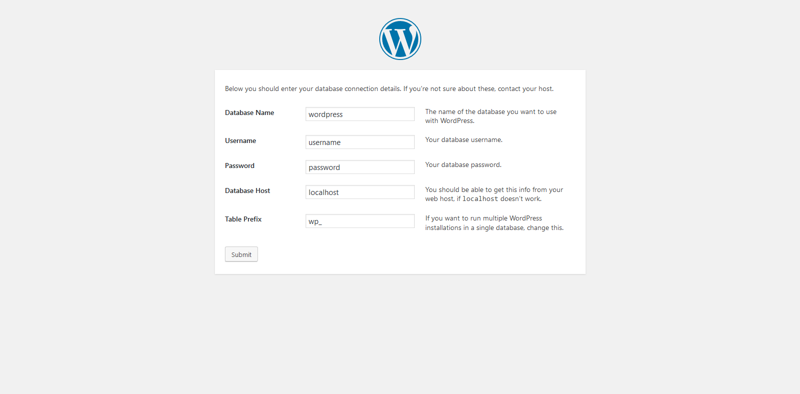 The last part of the WordPress manual installation in Vesta